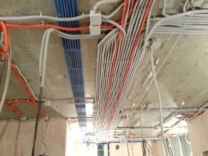 Пример качественной укладки кабелей в гофре